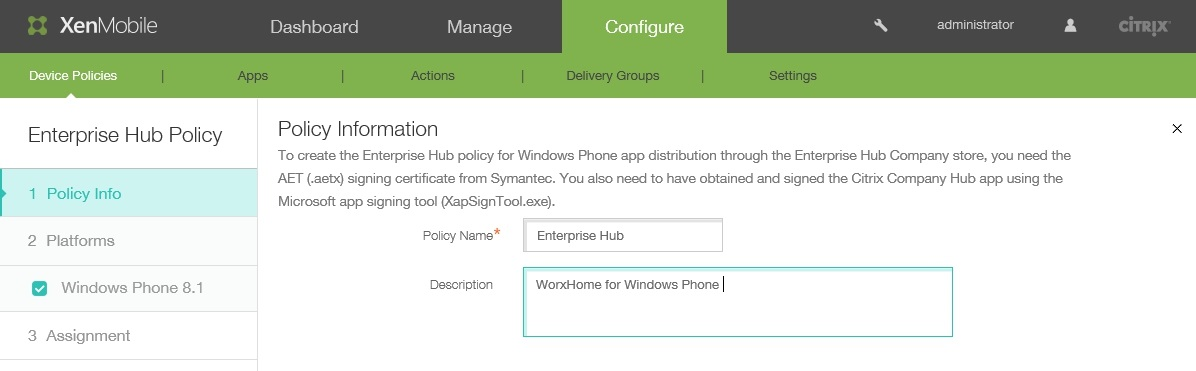 Wrapping and Deploying Windows Phone 8.1 Apps with Citrix XenMobile 10.x 008