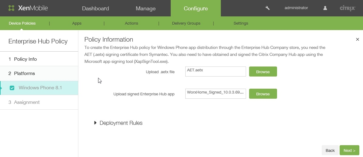 Wrapping and Deploying Windows Phone 8.1 Apps with Citrix XenMobile 10.x 009