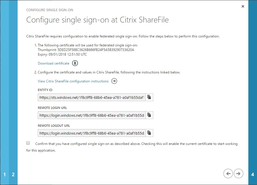 Configuring Citrix ShareFile SSON with Azure AD - 018