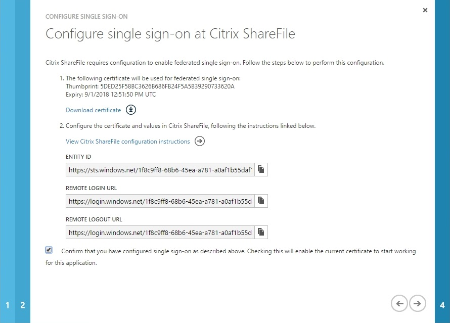 Configuring Citrix ShareFile SSON with Azure AD - 022