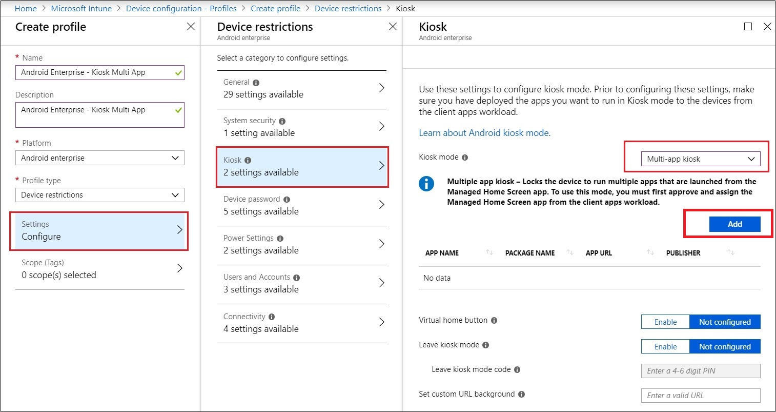How to configure an Android device in Multi App Kiosk mode with