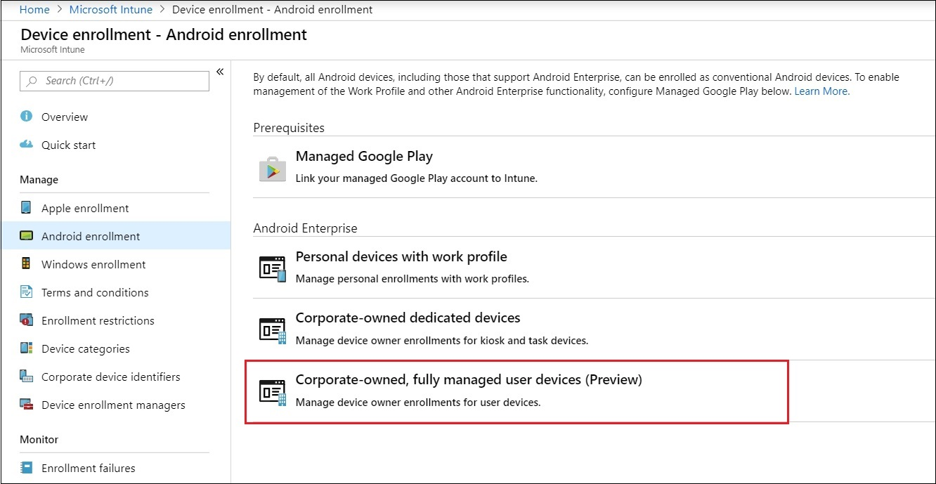 How to configure Android Enterprise – Corporate-owned, fully managed